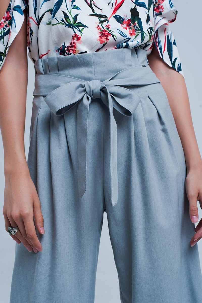 Grey Wide Leg Pants With Paperbag Detail