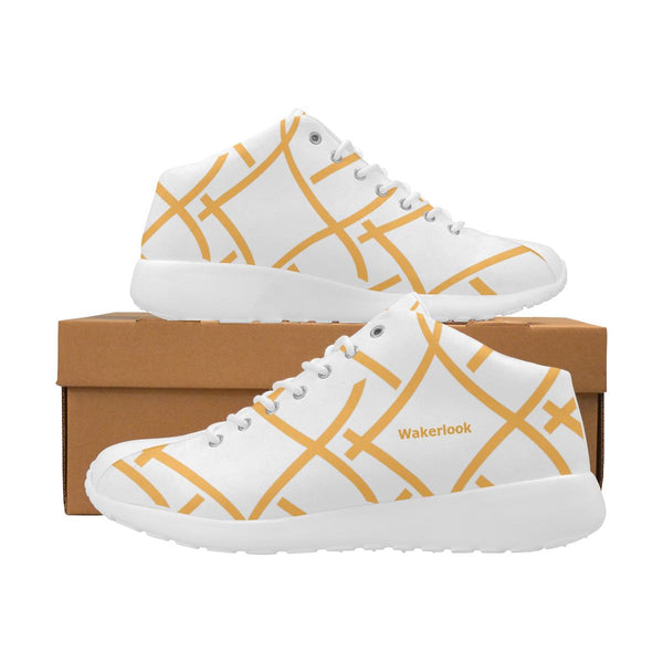 Wakerlook Golden Color Print Men's White Shoes