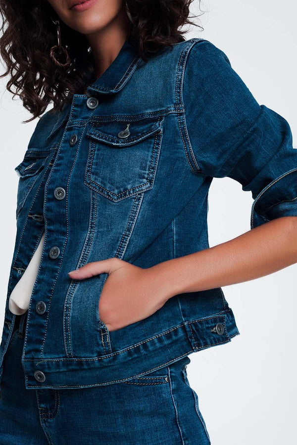 Cropped Denim Jacket in Darkwash Blue