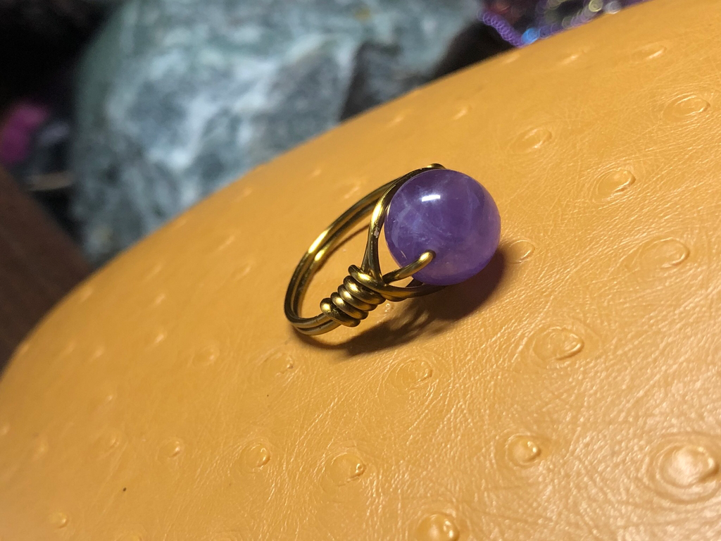 Antique Copper Amethyst Ring