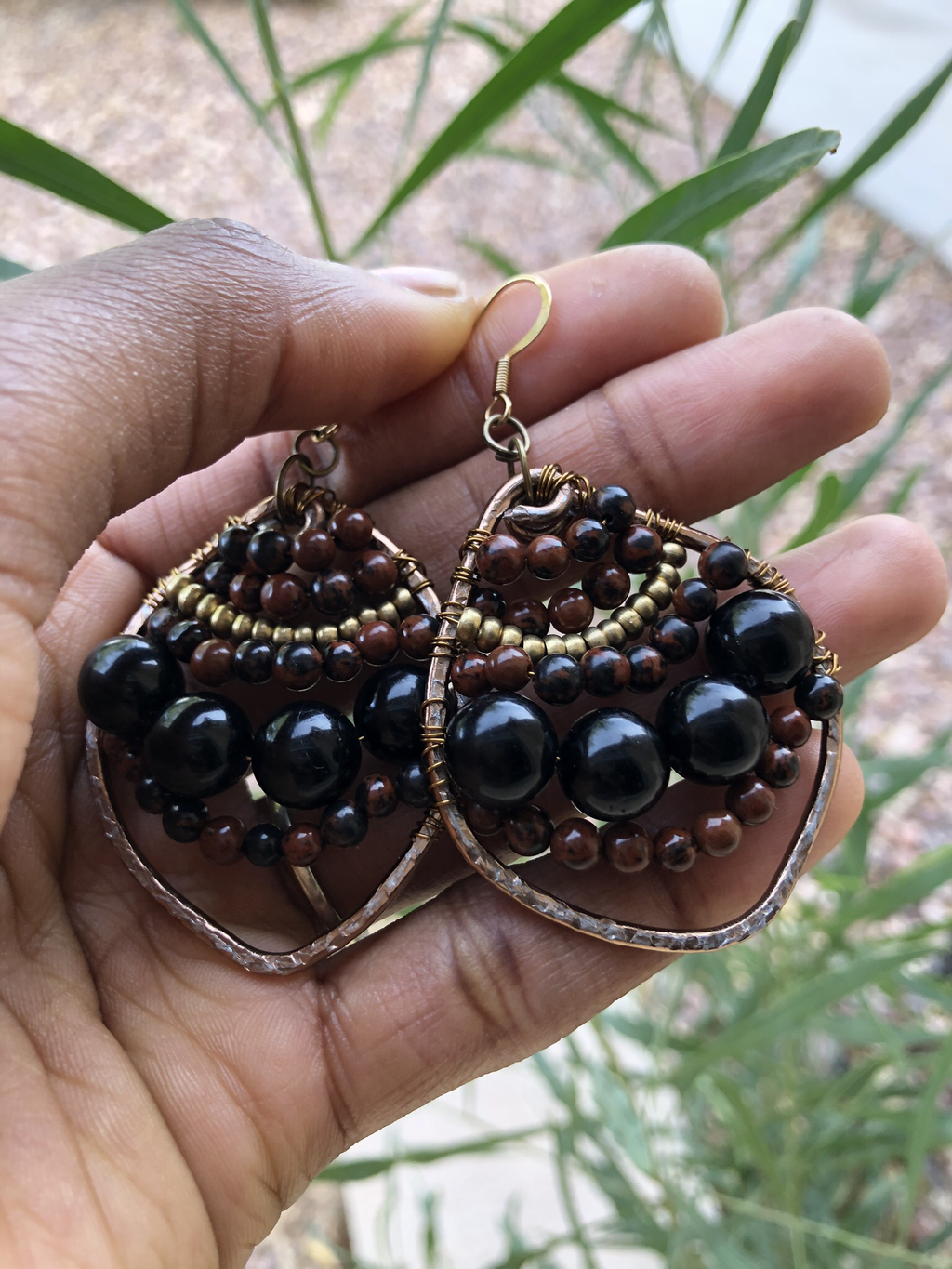 Black Obsidian & Mahogany Obsidian Earrings