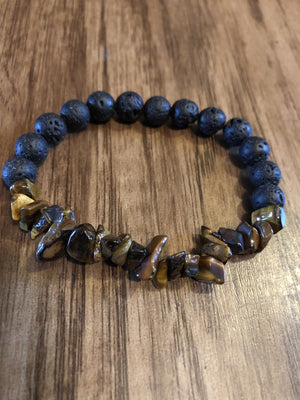 Tiger's Eye Chips & Lava Rock Unisex Bracelet