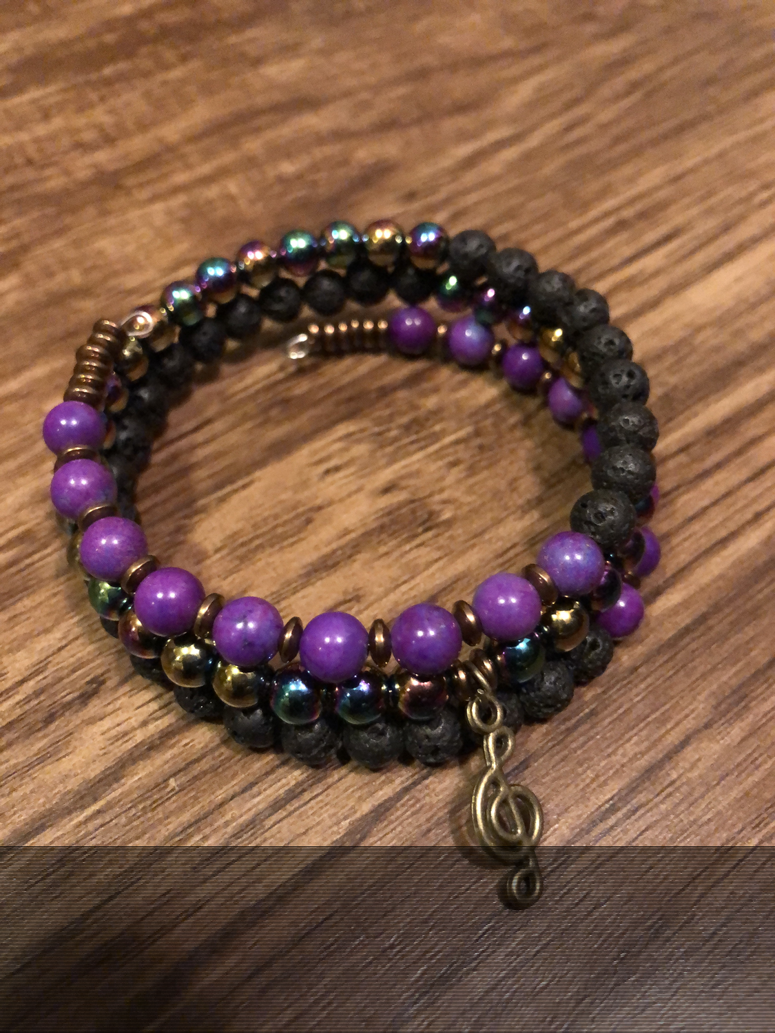 Rainbow Hematite, Lava Rock and Magnesite Dyed Purple Wrap Bracelet