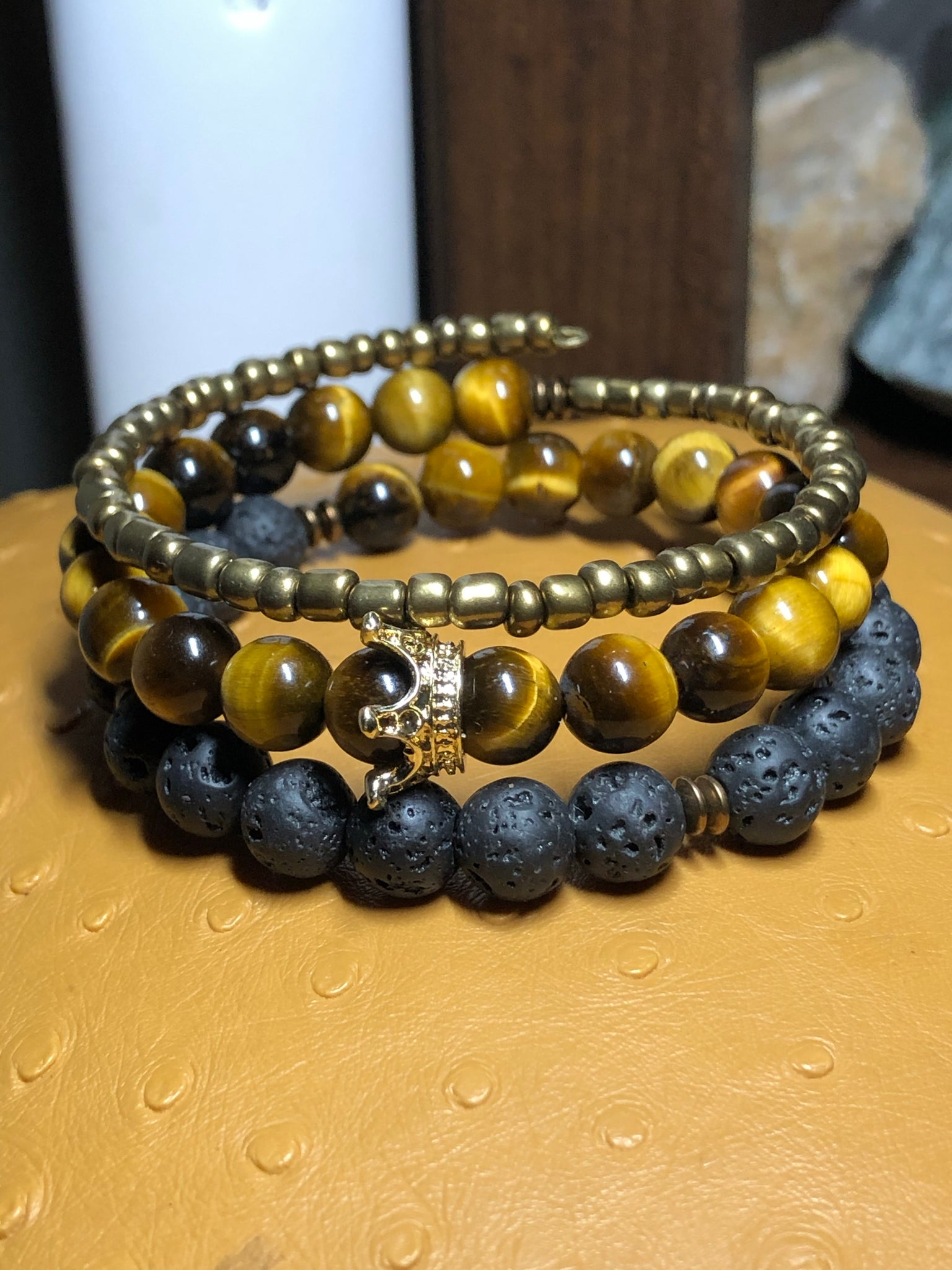 Big King Energy Tiger's Eye & Lava Rock Bracelet