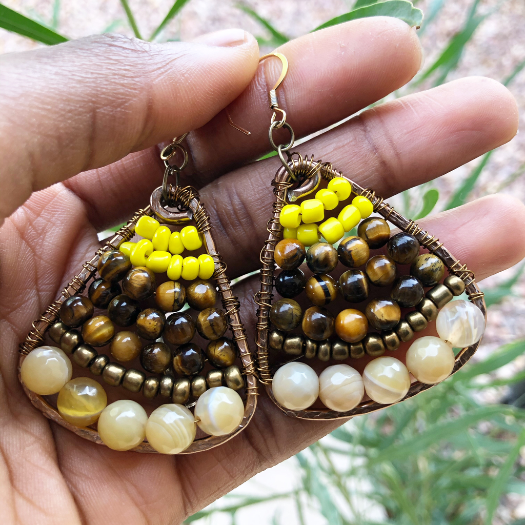 Yellow Banded Agate & Tiger's Eye Earrings