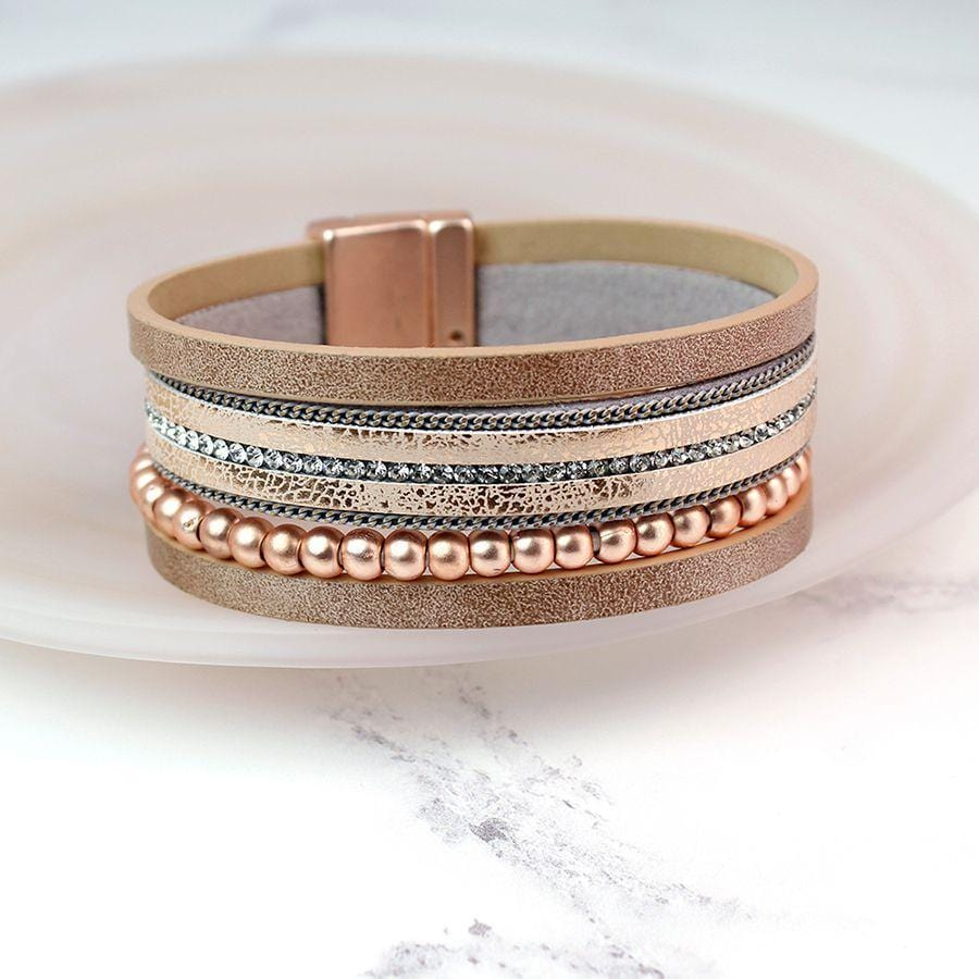 Rose Gold Leather and Crystal Bracelet