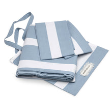 Load image into Gallery viewer, Cool Blue Reversible Thin Striped Duvet Cover and Pillow Case Set