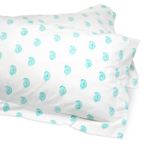 Paisley Duvet Cover and Pillow Set Aqua