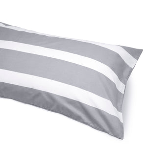 Scandi Gray Reversible Thin Striped Duvet Cover and Pillow Case Set