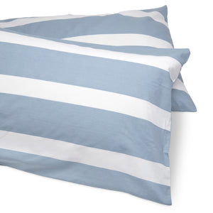 Cool Blue Reversible Thin Striped Duvet Cover and Pillow Case Set