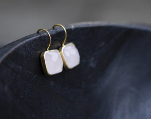 Rose Quartz and Gold Vermeil Drop Earrings