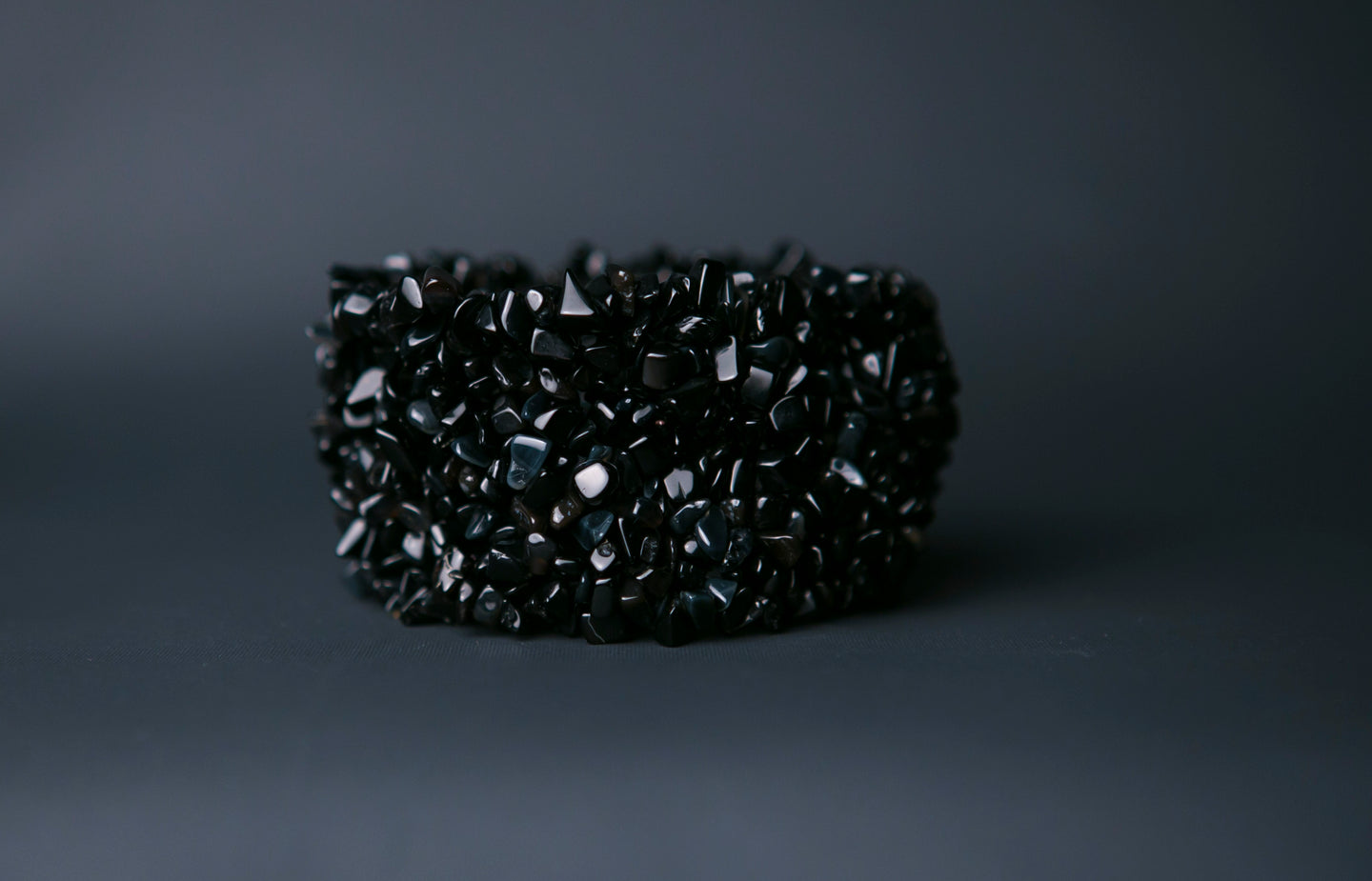 Knitted Black Agate Bracelet