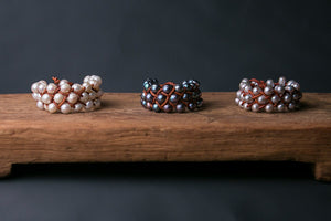 Peacock Pearl and Leather Woven Cuff Bracelet, tan