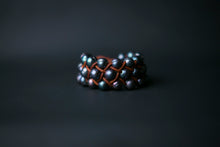 Load image into Gallery viewer, Peacock Pearl and Leather Woven Cuff Bracelet, tan