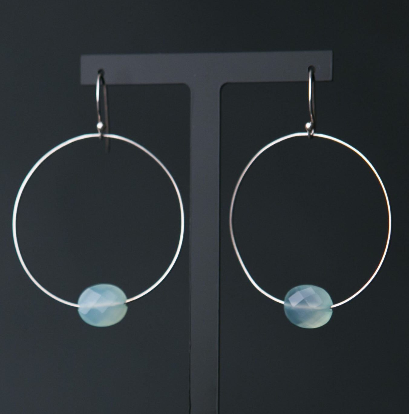 Aqua Chalcedony and Silver Hoop Earrings