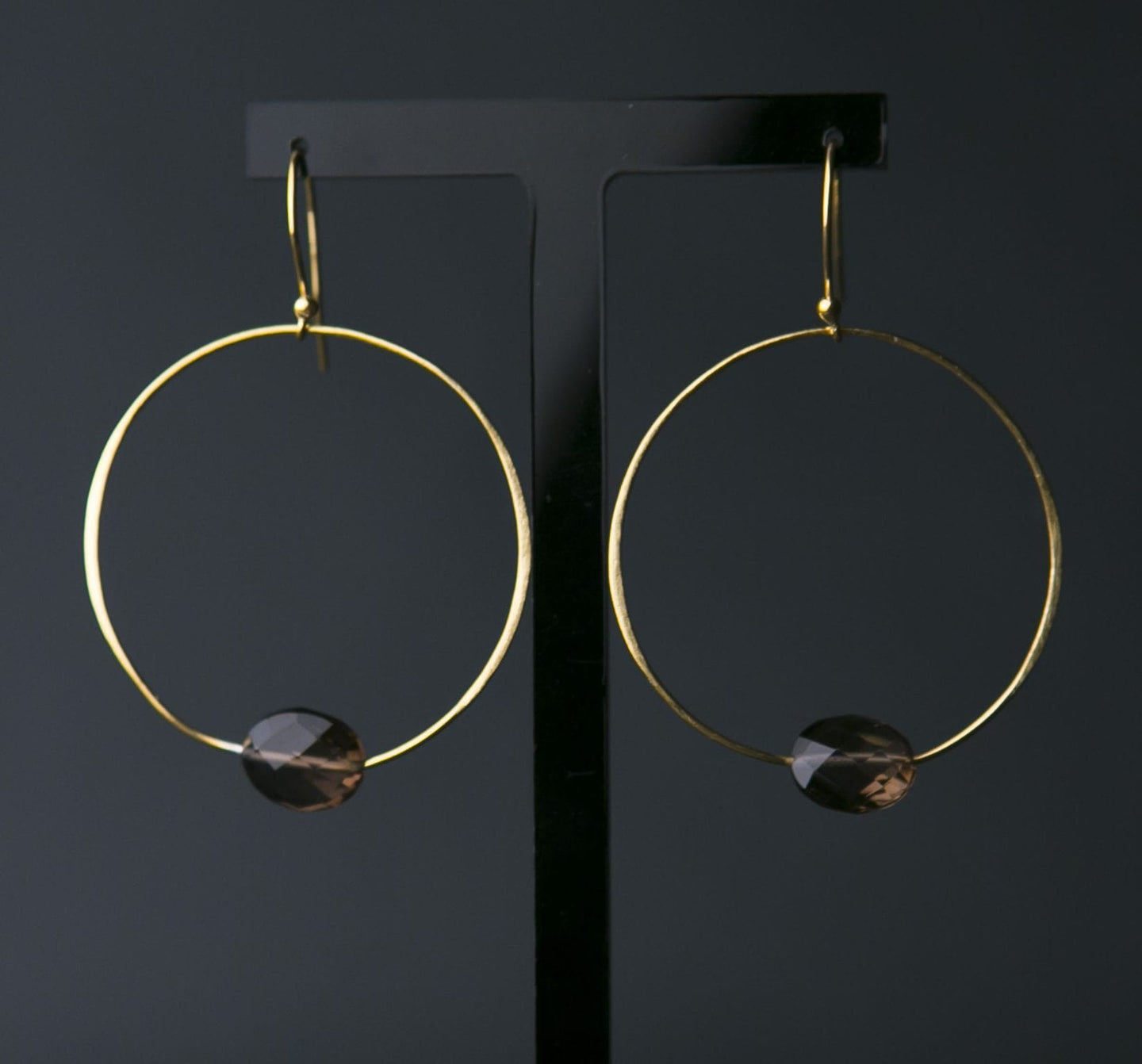 Smokey Quartz and Gold Vermeil Hoop Earrings