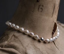 Load image into Gallery viewer, baroque white pearl necklace, silver clasp
