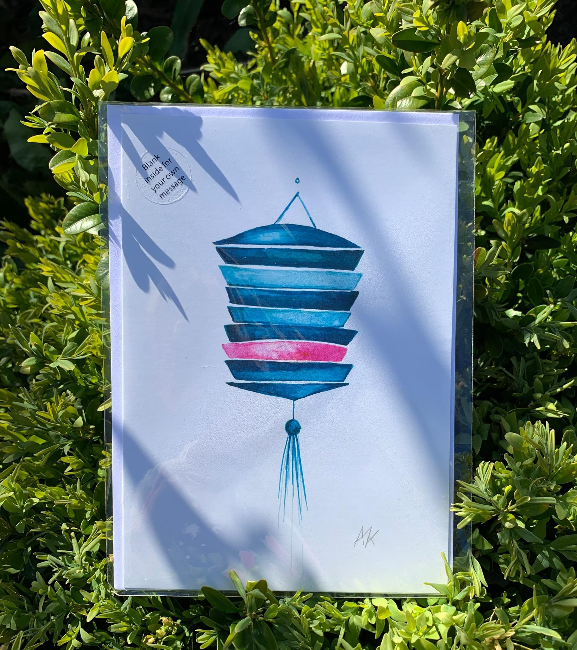 Slatted Lantern card in Pink