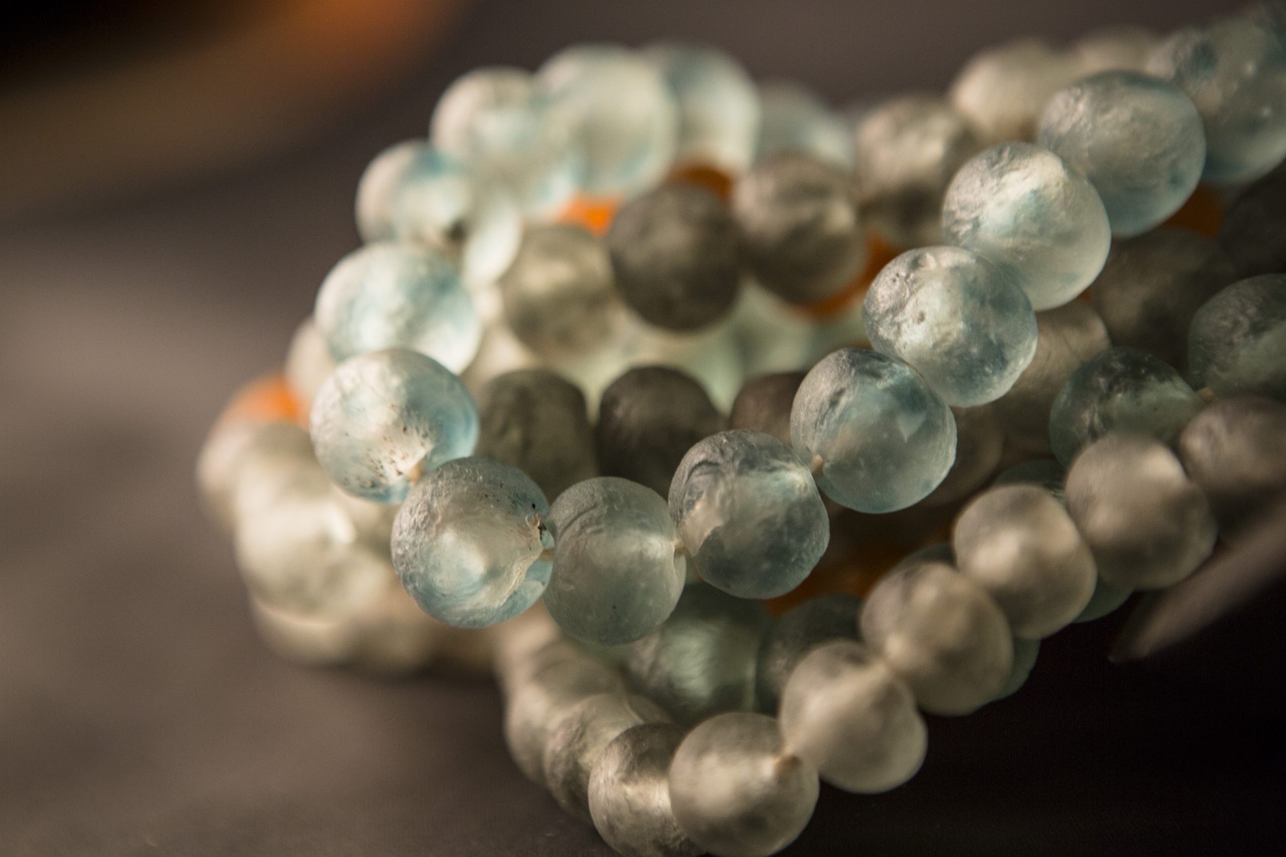 Recycled Glass Bead Necklace - grey swirl