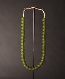 Recycled Glass Bead Necklace large - olive green