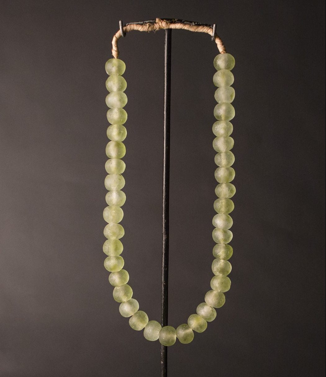 Recycled Glass Bead Necklace large - olive swirl