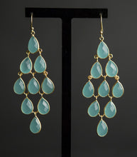Load image into Gallery viewer, Aqua Chalcedony Chandelier Gold Vermeil Earrings