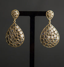 Load image into Gallery viewer, diamond slice and gold vermeil statement chandelier earrings