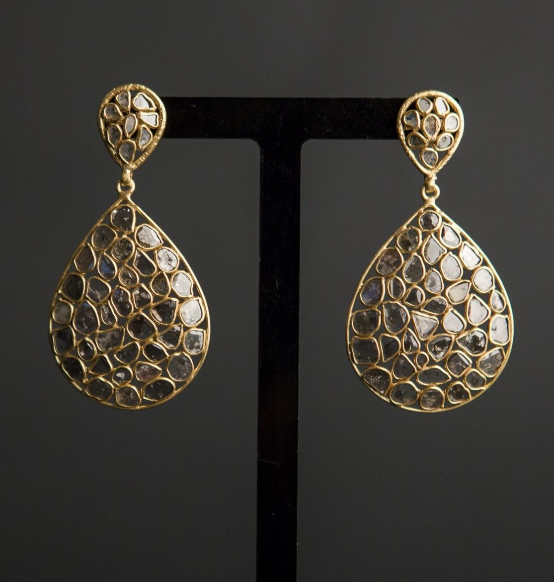 diamond slice and gold vermeil statement chandelier earrings