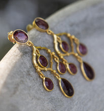 Load image into Gallery viewer, tourmaline dark pink chandelier earrings, gold vermeil