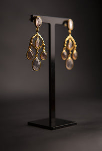 tourmaline pink chandelier earrings, gold vermeil