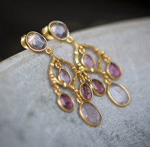 Load image into Gallery viewer, tourmaline pink chandelier earrings, gold vermeil