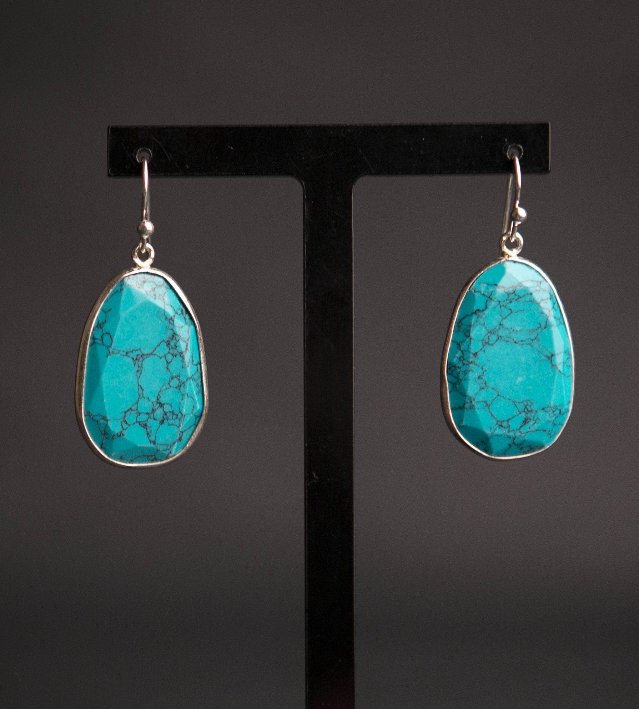 Turquoise howlite & silver oval earrings