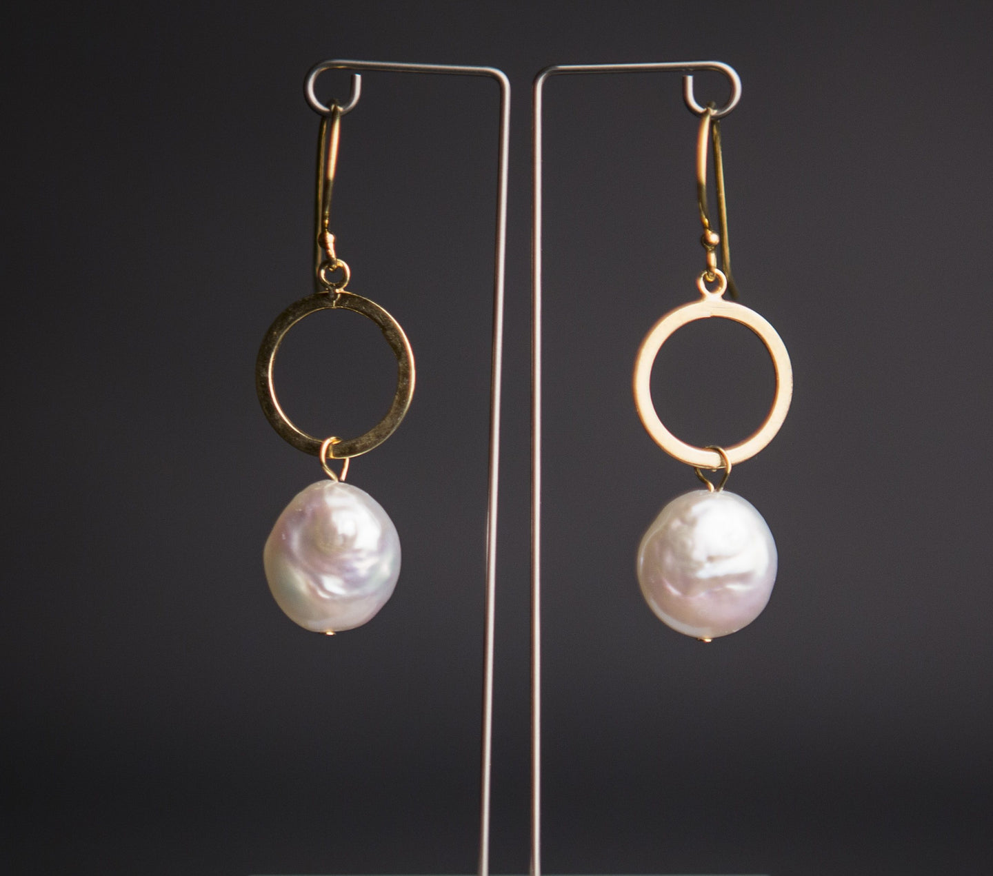 Pearl coin and gold vermeil circle earrings