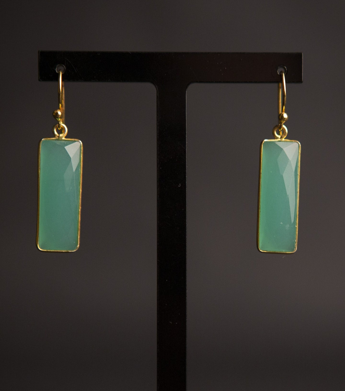 Aqua chalcedony & gold vermeil rectangle earrings