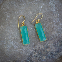 Load image into Gallery viewer, Aqua chalcedony & gold vermeil rectangle earrings