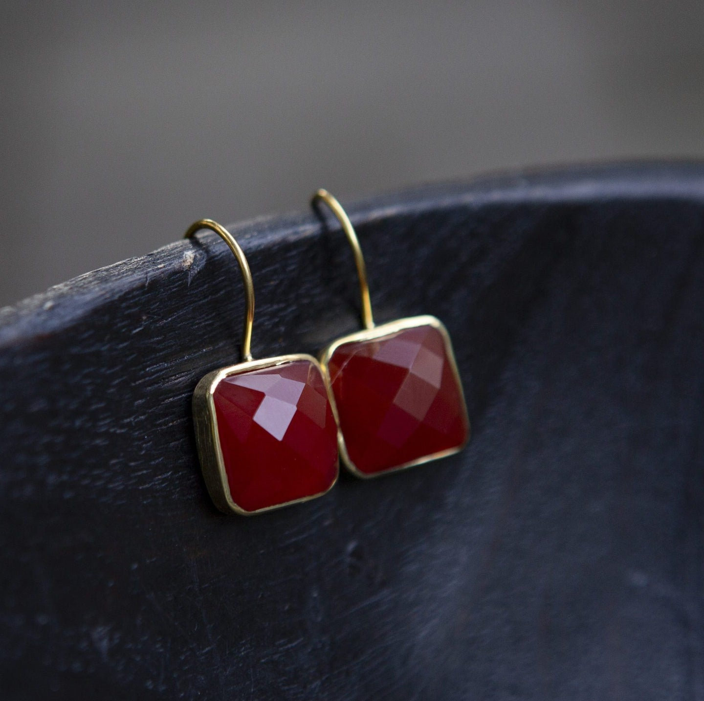 Carnelian and Gold Vermeil Drop Earrings