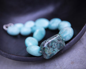 Amazonite and chrysocolla necklace