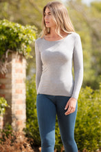 Load image into Gallery viewer, Long Sleeve Scoop Neck T-Shirt in Grey Marl