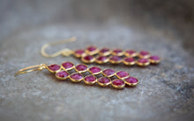 Load image into Gallery viewer, ruby long petal and gold vermeil earrings