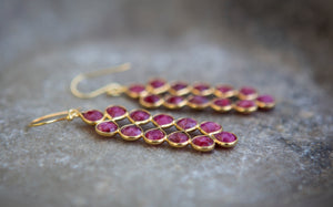 ruby long petal and gold vermeil earrings