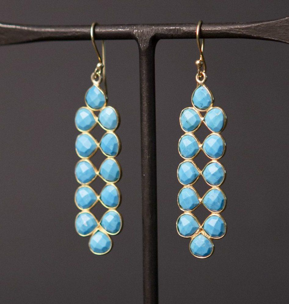 turquoise howlite long petal and gold vermeil earrings