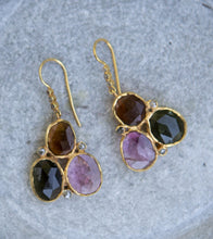 Load image into Gallery viewer, tourmaline and diamond trio earrings, gold vermeil