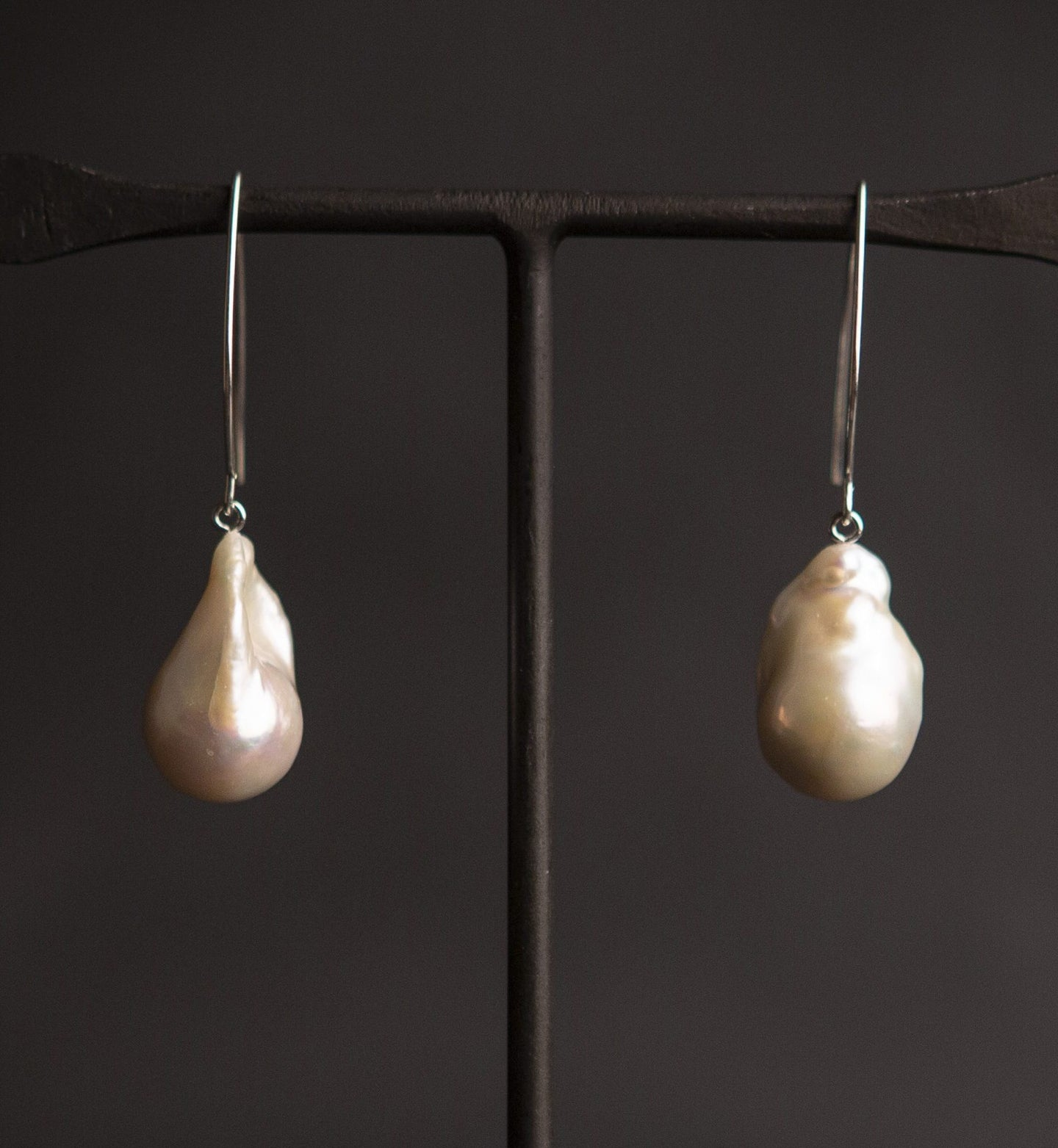 Giant Baroque Pearl  and silver v Earrings