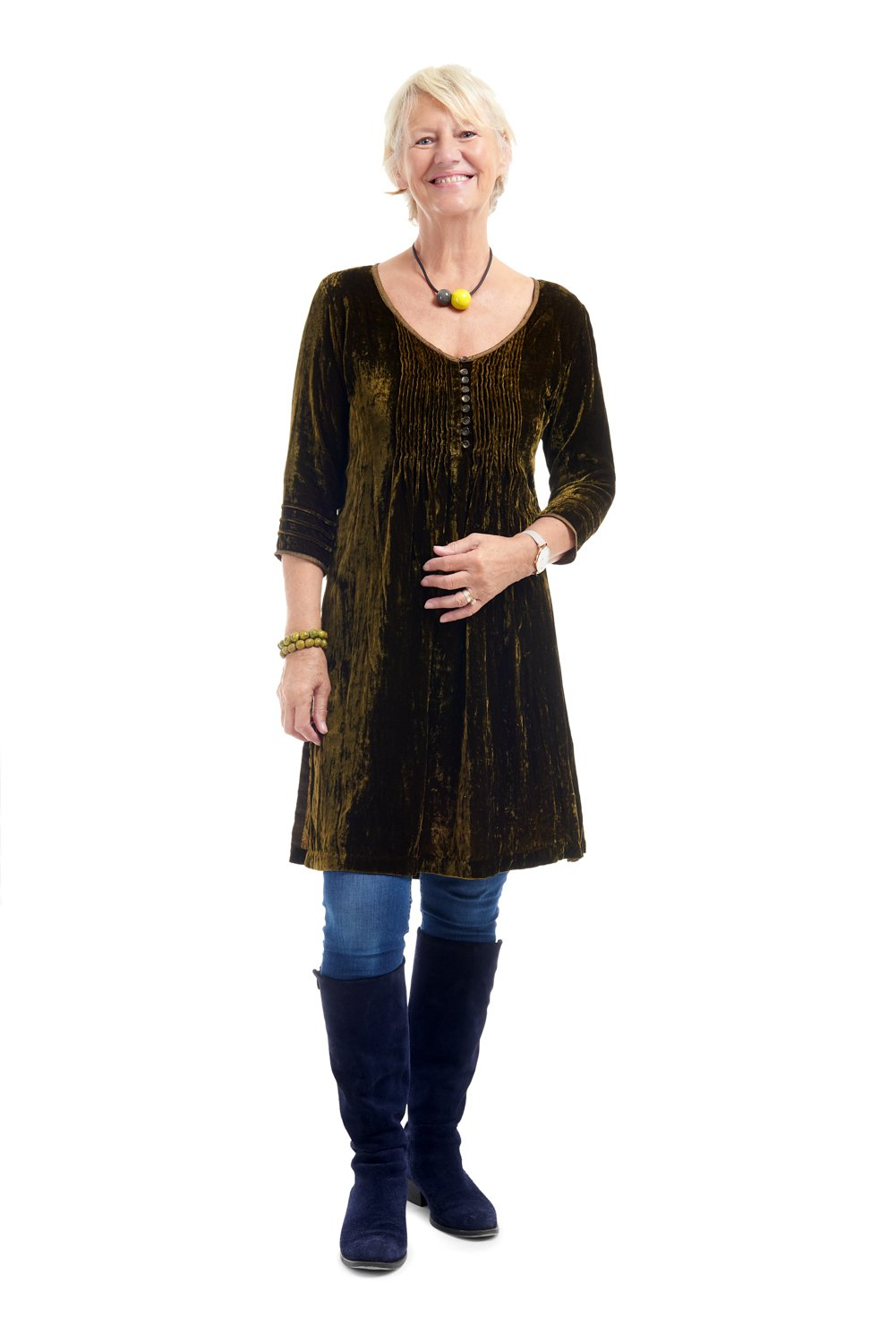 Annabel Frill Silk Velvet Long Tunic \ Dress - Olive