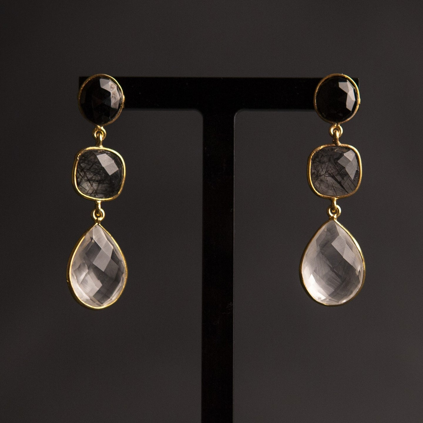 black onyx and quartz trio drop earrings, gold vermeil