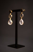 Load image into Gallery viewer, black onyx and quartz trio drop earrings, gold vermeil