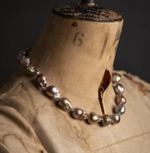 Load image into Gallery viewer, Giant Baroque golden grey Pearl Necklace