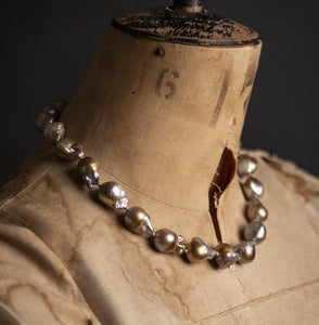 Giant Baroque golden grey Pearl Necklace