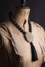 Load image into Gallery viewer, Jade pendant and lava stone tassel necklace