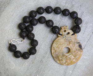 Jade pendant and lava stone necklace